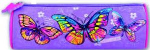 """Пенал-тубус Феникс атлас с запечаткой """"Радужные бабочки"""", б/нап., фигурн. собачка, 20,5х6,5х6,5см купить оптом и в розницу"""