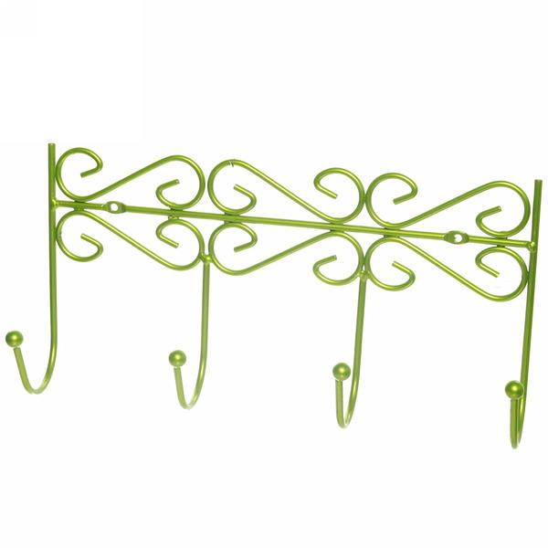 Вешалка настенная 4 крючка 31х16см G26-4DC зеленая купить оптом и в розницу