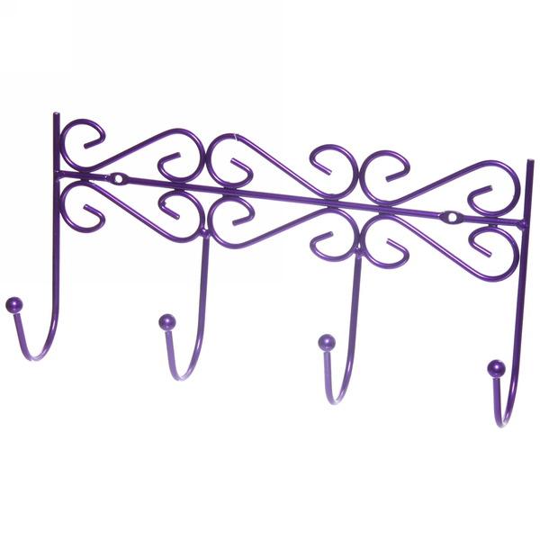 Вешалка настенная 4 крючка 31х16см G26-4DC фиолетовая купить оптом и в розницу