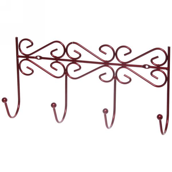 Вешалка настенная 4 крючка 31х16см G26-4DC красная купить оптом и в розницу