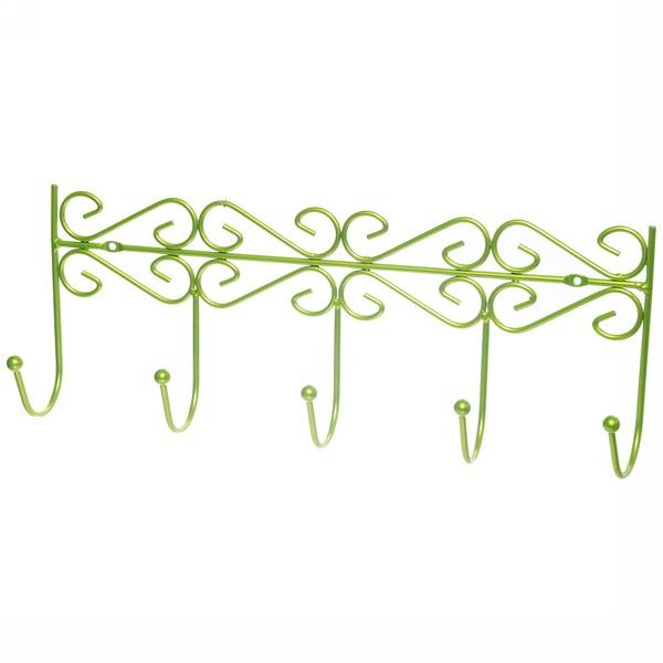 Вешалка настенная 5 крючков 41х16см G26-4DC зеленая купить оптом и в розницу