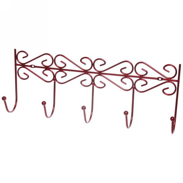 Вешалка настенная 5 крючков 41х16см G26-4DC красная купить оптом и в розницу