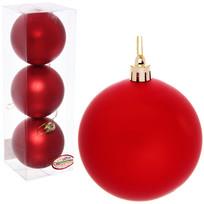 Новогодние шары 7 см (набор 3 шт) ″Матовый″, красный купить оптом и в розницу