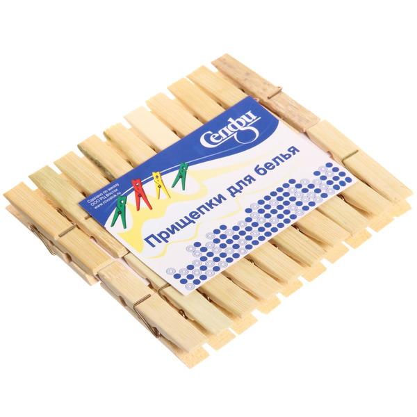 Прищепки бельевые Селфи бамбук (20шт) 6см купить оптом и в розницу