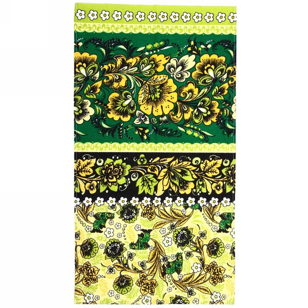 Полотенце вафельное 40*75см ″Хохлома″ зеленое купить оптом и в розницу