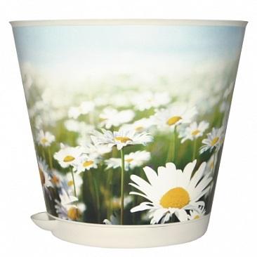 Горшок для цветов Крит D 120 mm с системой прикорневого полива 0,7л Ромашк*16 купить оптом и в розницу