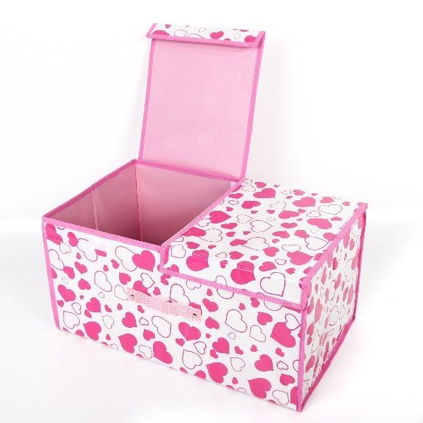 Коробка д/хранения вещей 50*30*25 ″Сердечки″ купить оптом и в розницу