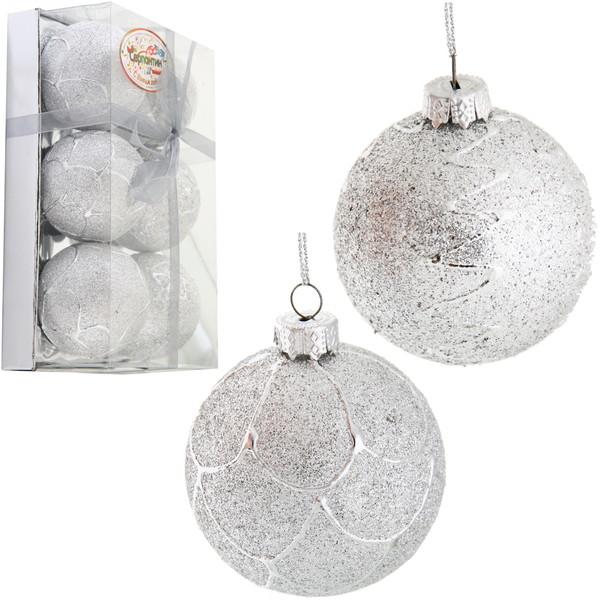 Новогодние шары ″Снежный узор″ 6см (набор 6шт.) купить оптом и в розницу