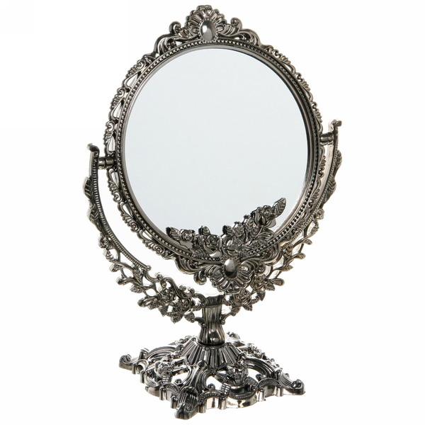 Зеркало настольное в пластиковой оправе ″Версаль - Круг″ цвет золото, двухсторонне, с увеличением 27см купить оптом и в розницу
