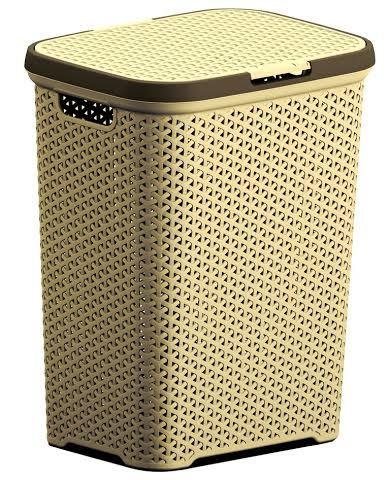 Корзина плетеная для белья с крышкой (крем) *6 (440х336х555 )мм купить оптом и в розницу