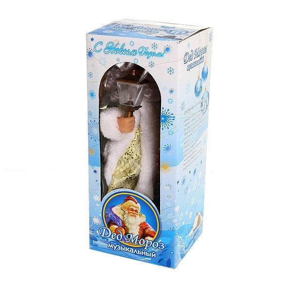Дед Мороз музыкальный 30см с фонарем и мешком подарков купить оптом и в розницу