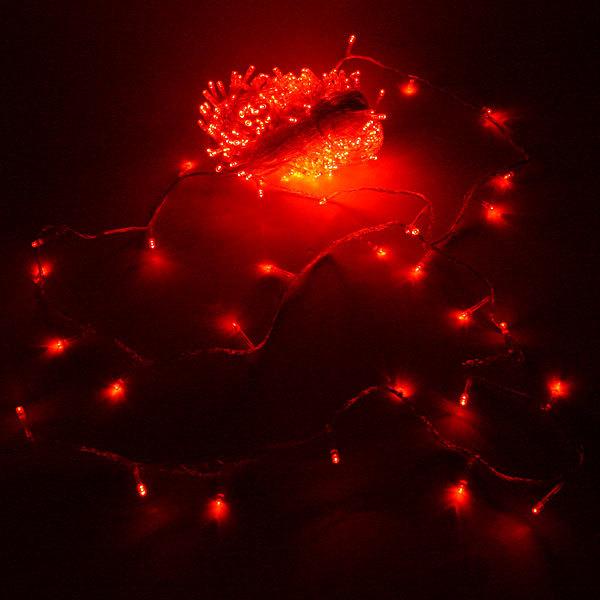 Гирлянда светодиодная 24м, 300 ламп LED,Красный,8 реж, прозр.пров. купить оптом и в розницу