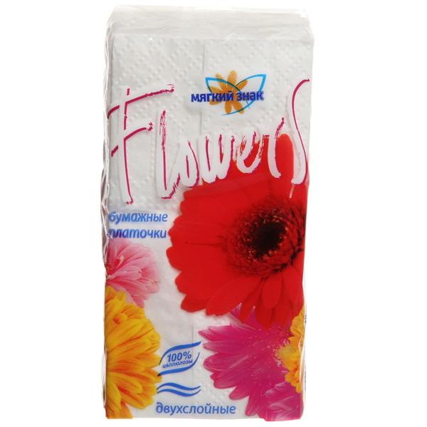 Платочки бумажные 10шт. Мягкий знак Flowers 2-х сл. купить оптом и в розницу