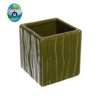 Кашпо для цветов садовое ″Квадрат микс″ 7х7см″ JЕ13033-3 белый/салатовый/зеленый 0,3 купить оптом и в розницу