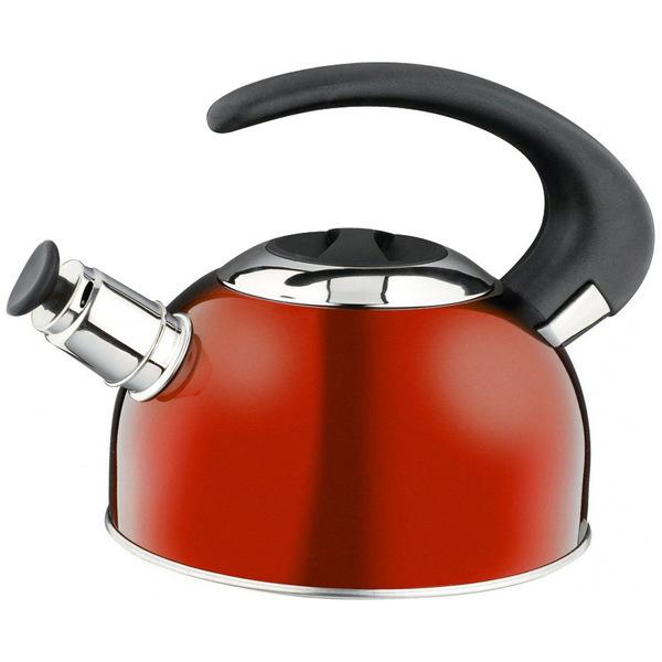 Чайник из нержавеющей стали 1,8л со свистком, термоаккумулирующее дно, разные цвета купить оптом и в розницу