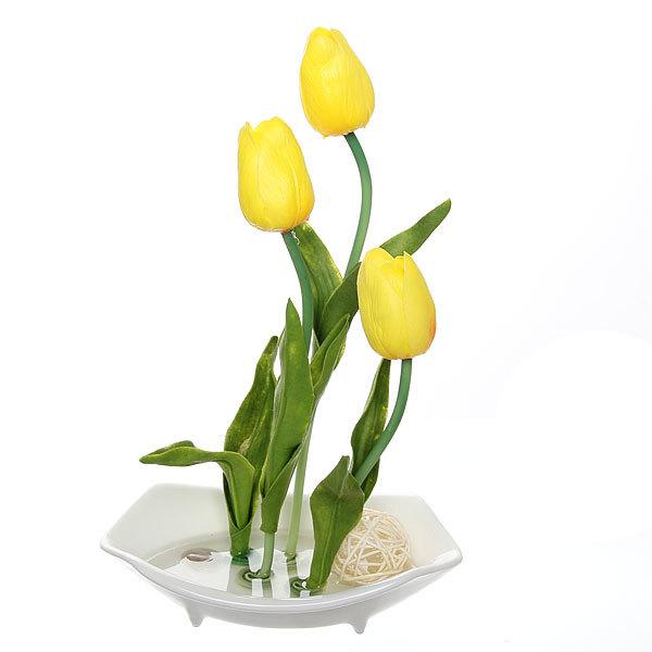 Цветы искусственные в тарелке ″Тюльпаны″ 30 см 3 бутона YX12120 купить оптом и в розницу