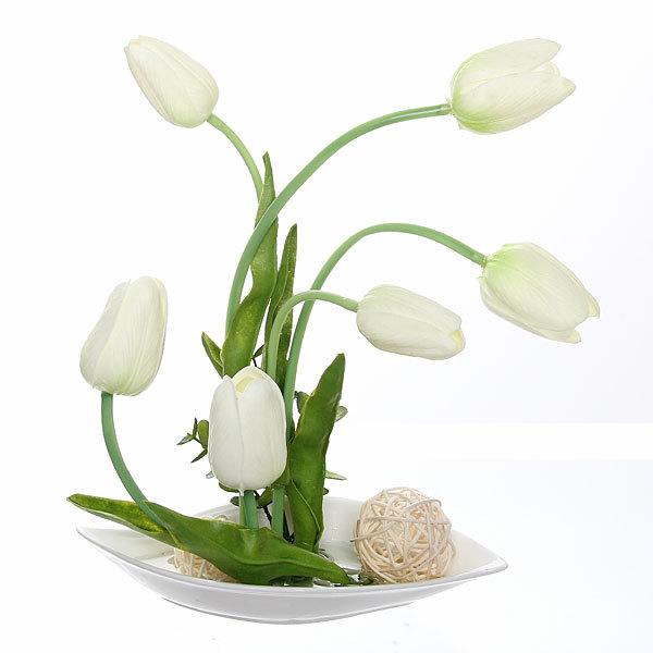 Цветы искусственные в тарелке ″Тюльпаны″ 30 см 7 бутонов YX12175 купить оптом и в розницу