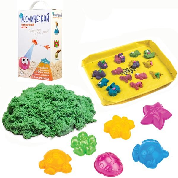 Набор ДТ Космический песок Зеленый 3 кг. песочница и формочки кор. купить оптом и в розницу