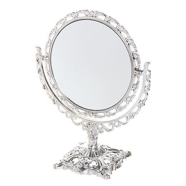Зеркало настольное в пластиковой оправе ″Версаль - Круг″ цвет серебро, двухстороннее, с увеличением 22см купить оптом и в розницу