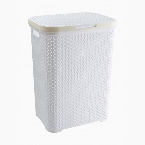 Корзина плетеная для белья с крышкой (белый ) *6 (440 x 336 x 555)мм купить оптом и в розницу
