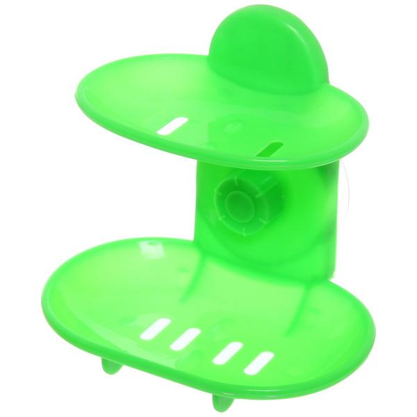 Мыльница на присоске, пластик, двойная, зеленая купить оптом и в розницу
