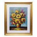 Картина маслом 55*65см объемная ″Хризантемы желтые″ золотой багет купить оптом и в розницу
