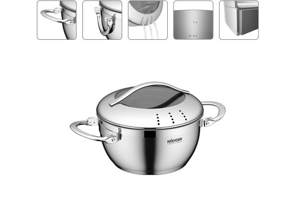 Кастрюля со стеклянной крышкой, 16 см/1,4 л, NADOBA, серия MARUSKA *6 купить оптом и в розницу