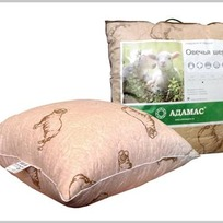 Подушка 70х70 овеч. шерсть в п/э Адамас инд.сумка купить оптом и в розницу