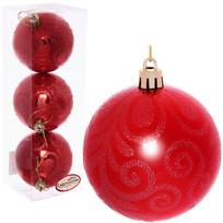 Новогодние шары 7 см (набор 3 шт) ″Рельефный узор″, красный купить оптом и в розницу
