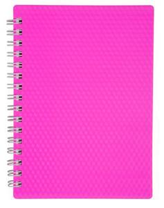 """Книжка записная А6, 80л, клетка, гребень, пласт.обл. HATBER, """"DIAMOND NEON Розовая"""" купить оптом и в розницу"""