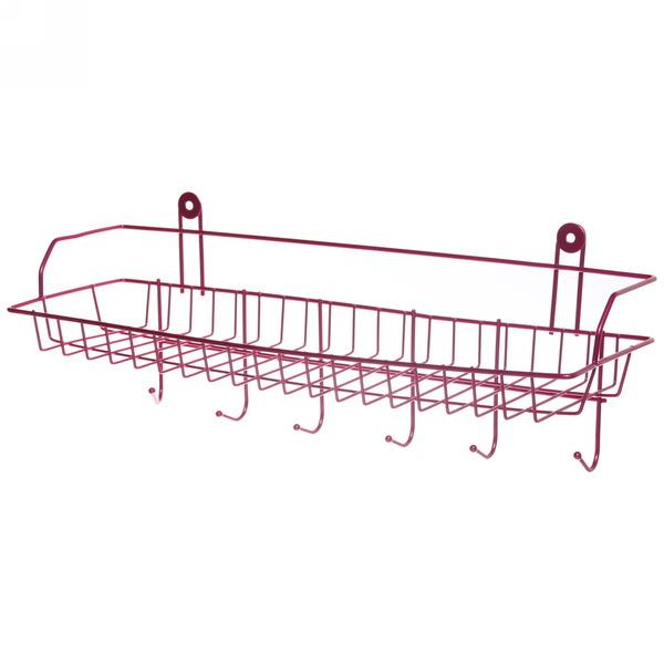 Полка для ванны металлическая 42х14х12см. Y2056 красная купить оптом и в розницу