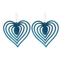 Ёлочные игрушки подвески, набор 2шт, 10см ″Сердечки блестящие объемные″ купить оптом и в розницу