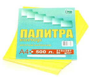 Бумага цветная, А4, 80г, Палитра колор, желтая, интенсив, 500л, Лихт купить оптом и в розницу