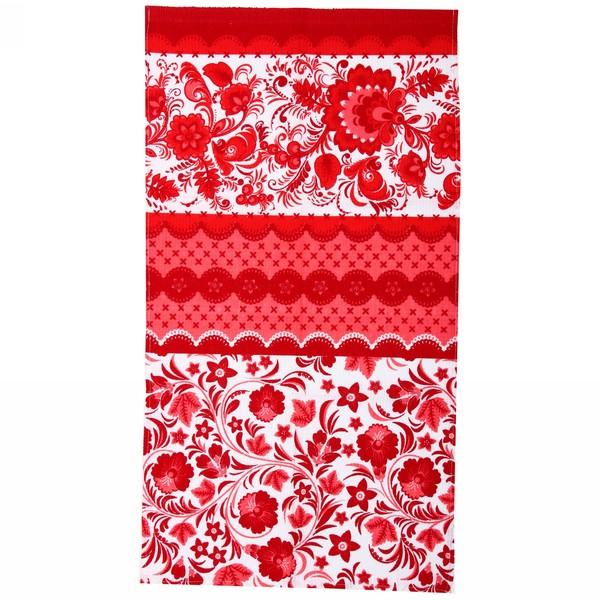 Полотенце вафельное 40*75см ″Гжель″ красное купить оптом и в розницу