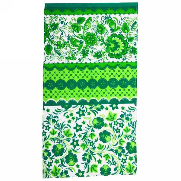 Полотенце вафельное 40*75см ″Гжель″ зеленое купить оптом и в розницу