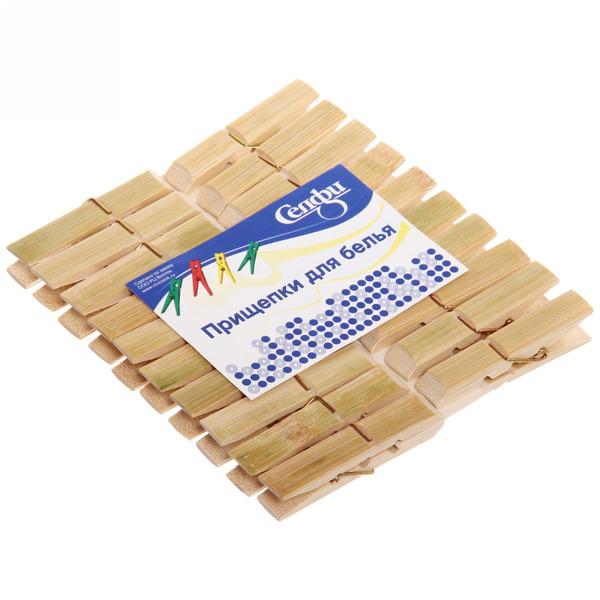 Прищепки бельевые Селфи бамбук (20шт) 7см купить оптом и в розницу