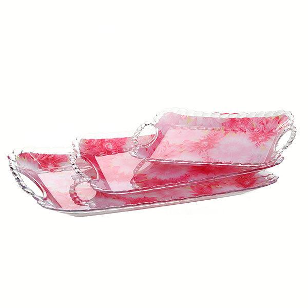 Набор подносов пластиковых ″Садовые цветы″ 3шт купить оптом и в розницу