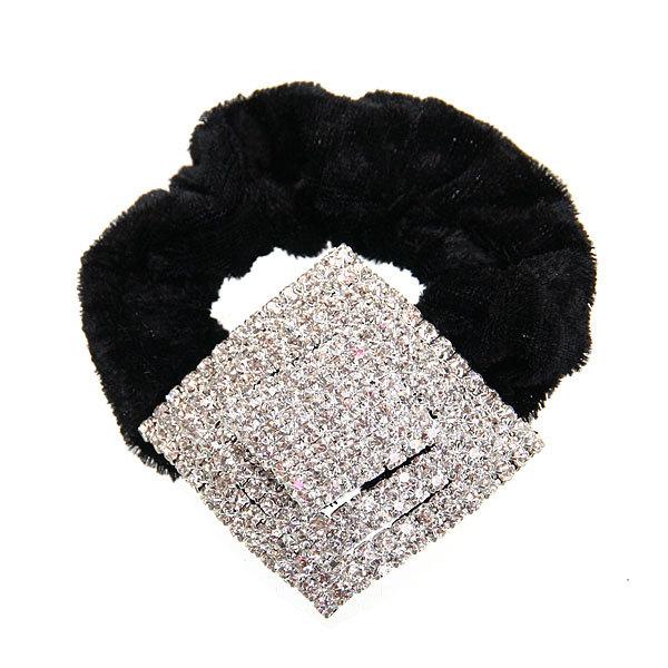 Резинка для волос 1шт ″Вивьен-ромб″, цвет черный купить оптом и в розницу