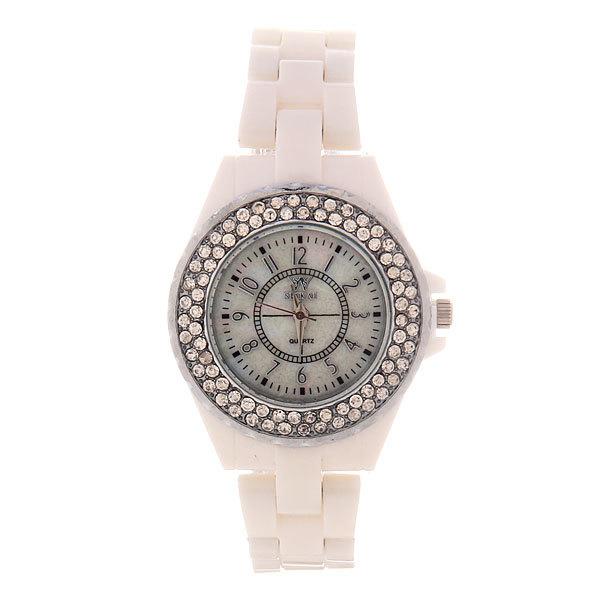 Часы наручные под керамику, цвет белый, оконтовка стразы, белый циферблат купить оптом и в розницу