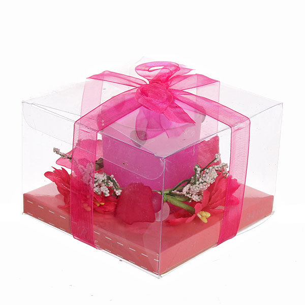 Свеча ″Праздничная″ с сердечками и цветами, 10*10*7 см купить оптом и в розницу