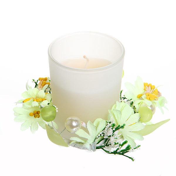 Свеча ″Праздничная″, желтые цветы, 10*10*7 см купить оптом и в розницу