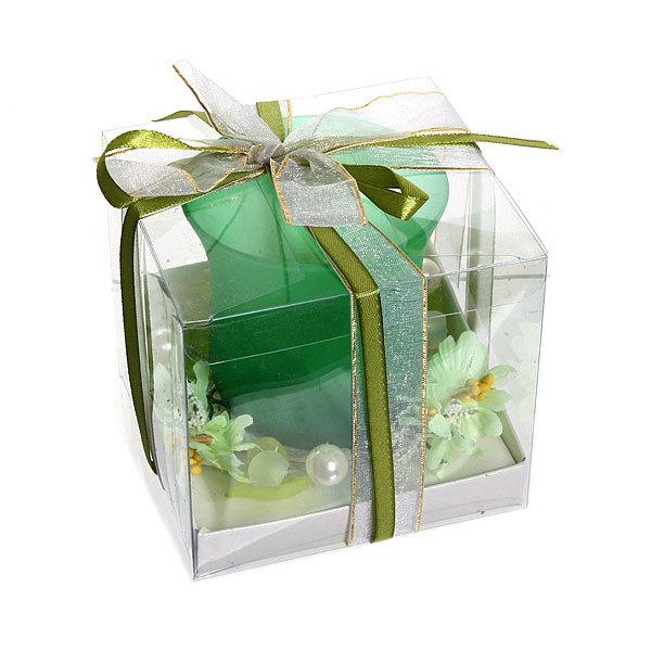 Свеча ″Праздничная″, зеленые цветы, 10*10*8 см купить оптом и в розницу