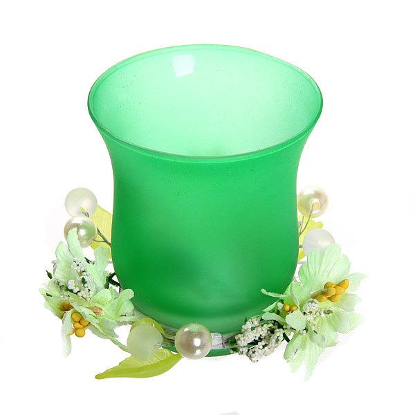 Свеча ″ Праздничная″ 1 штука 10*10*8 см желтые цветы ВВ-5 купить оптом и в розницу