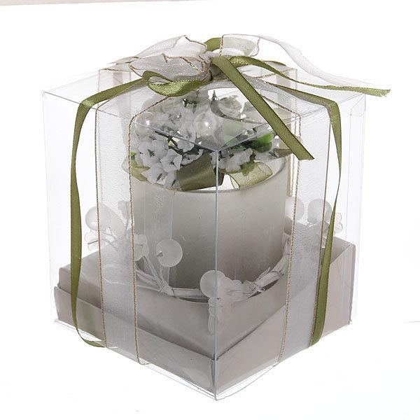 Свеча ″Праздничная″, белые цветы, 10*10*10 см купить оптом и в розницу