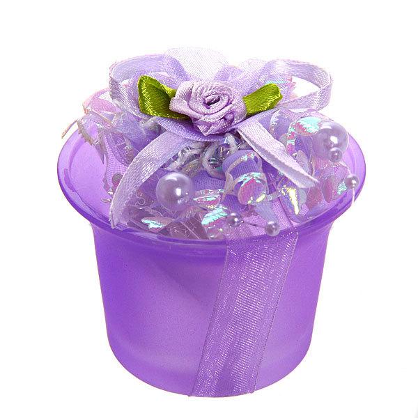 Свеча ″ Праздничная″ 1 штука 6*7 см фиолетовые цветы 1352 купить оптом и в розницу