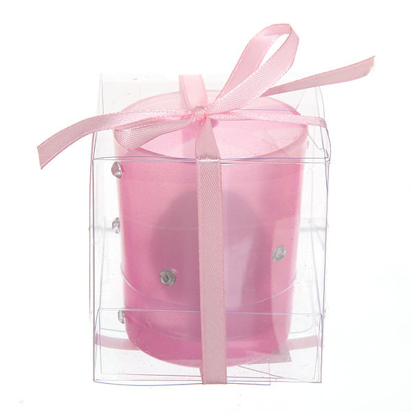 Свеча ″Праздничная″, розовая со стразами, 10*8 см купить оптом и в розницу
