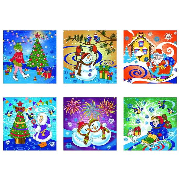 Доска разделочная стеклянная 18*18см ″Новогодние каникулы″ купить оптом и в розницу