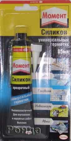 Герметик силикон ″Момент″универсальный,прозрачный 85мл 24шт/уп (606037) купить оптом и в розницу
