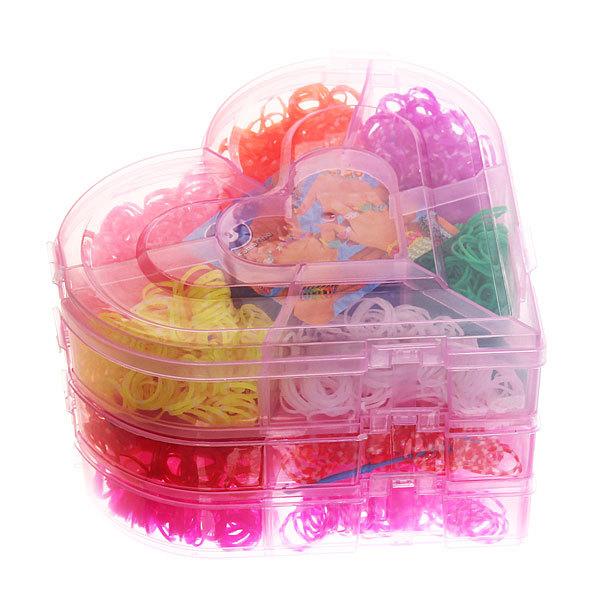 Набор резинок для плетения браслетов 4000шт 21 цвет 3-х ярусный Сердце купить оптом и в розницу