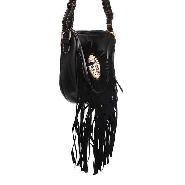 Сумка через плечо женская с длинным ремешком ″Коллекция Бахрома солнце″ черный цв. 2 отд. 25*20*8 купить оптом и в розницу
